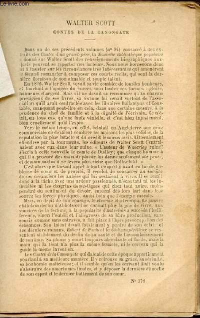 BIBLIOTHEQUE POPULAIRE N°378 : CONTES DE LA CANONGATE : LES DEUX BOUVIERS  / LA DAME AU SAC (CONTE FANTASTIQUE)