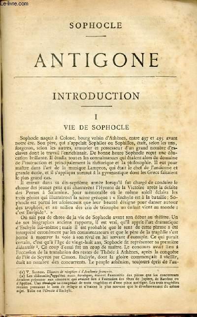 BIBLIOTHEQUE POPULAIRE - ANTIGONE : INTRODUCTION : Vie de Sophocle, l'oeuvre de Sophocle, Examen critique de l'Antigone,le théâtre grec.
