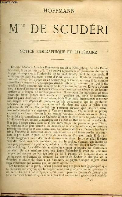 BIBLIOTHEQUE POPULAIRE N°75 : MLLE DE SCUDERI : Chronique du temps de Louis XIV