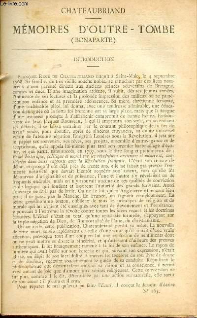 BIBLIOTHEQUE POPULAIRE N°165 : MEMOIRES D'OITRE-TOMBE (BONAPARTE)