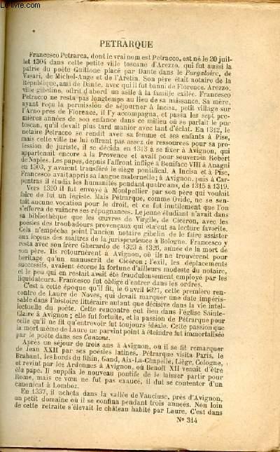 BIBLIOTHEQUE POPULAIRE N°314 : LETTRES CHOISIES : Autobiographie de Pétrarque