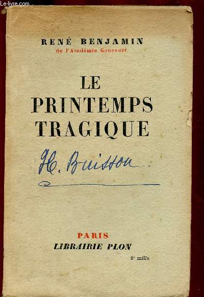LE PRINTEMPS TRAGIQUE (ROMAN)