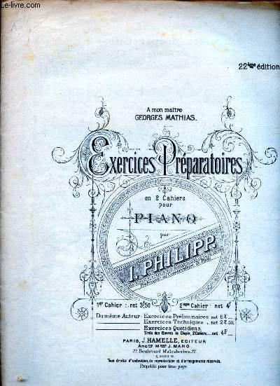 EXERCICES PREPARATOIRE EN 2 CAHIERS POUR PIANO