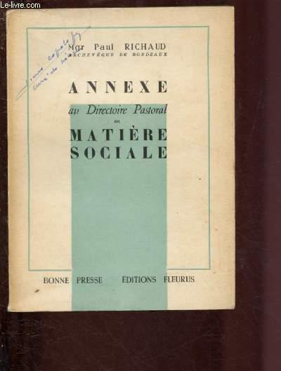 ANNEXE AU DIRECTOIRE PASTORAL EN MATIERE SOCIALE