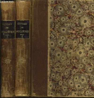 OEUVRES DE MOLIERE d'après l'édition de 1734  TOME 1 et 2 illustrées des dessins et des culs-de-lampe de Boucher et du portrait de Molière par COYPEL