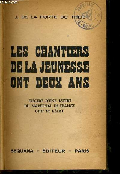 LES CHANTIERS DE LA JEUNESSE ON DEUX ANS