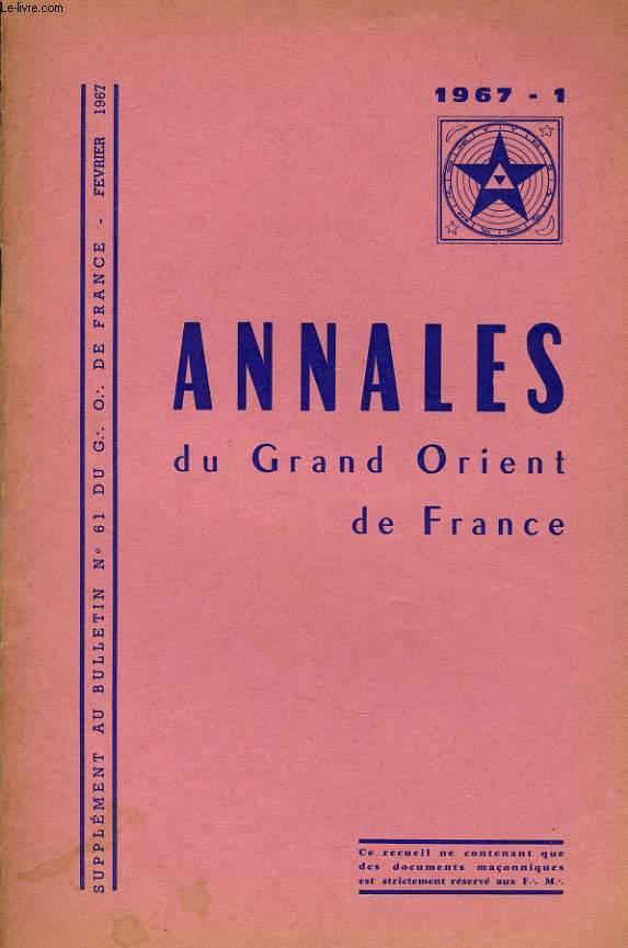 ANNALES DU GRND ORIENT DE FRANCE supplément au bulletin n°61 du G. O.D.F
