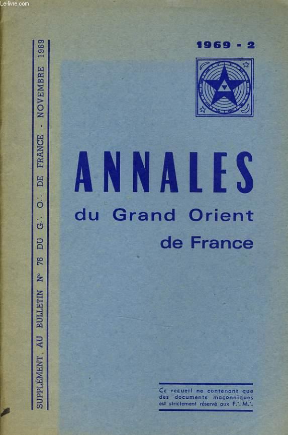 ANNALES DU GRND ORIENT DE FRANCE supplément au bulletin n°7 du G. O.D.F
