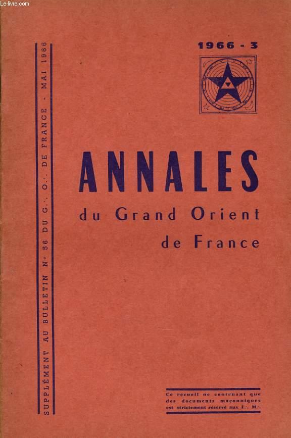 ANNALES DU GRND ORIENT DE FRANCE supplément au bulletin n°56 du G. O.D.F