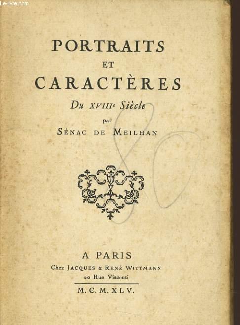 PORTRAIT DE CARACTERES du XVIIIe siècle