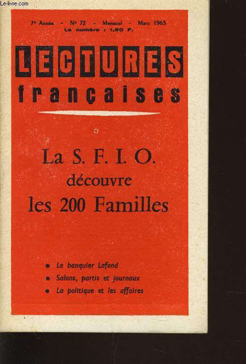 LECTURES FRANCAISES n°72 : La S.F.I.O. découvre les 200 familles