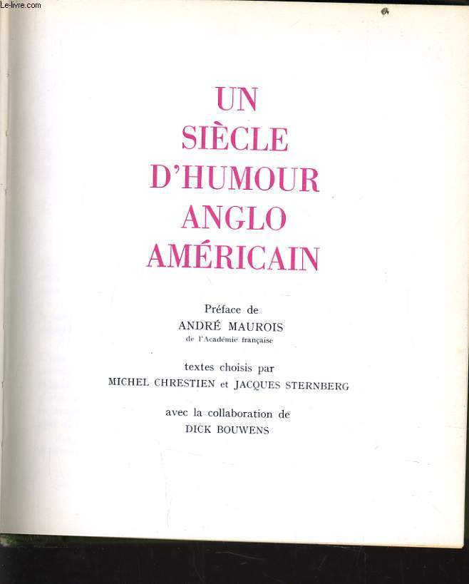 UN SIECLE D'HUMOUR ANGLO AMERICAIN