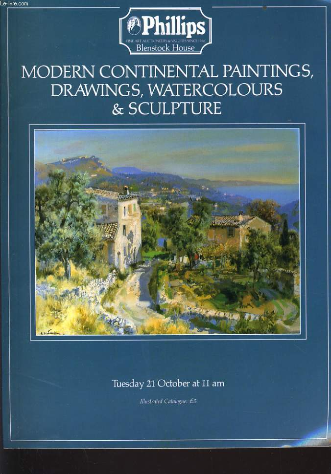 CATALOGUE DE VENTE  de Modern Continental Paintings, Drawings, Watercolours & sculpture, le 22 octobre