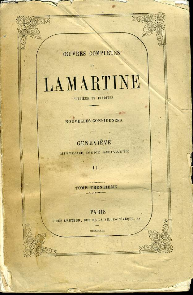 OEUVRES COMPLETES DE LAMARTINE Tome 2 : Genevieve