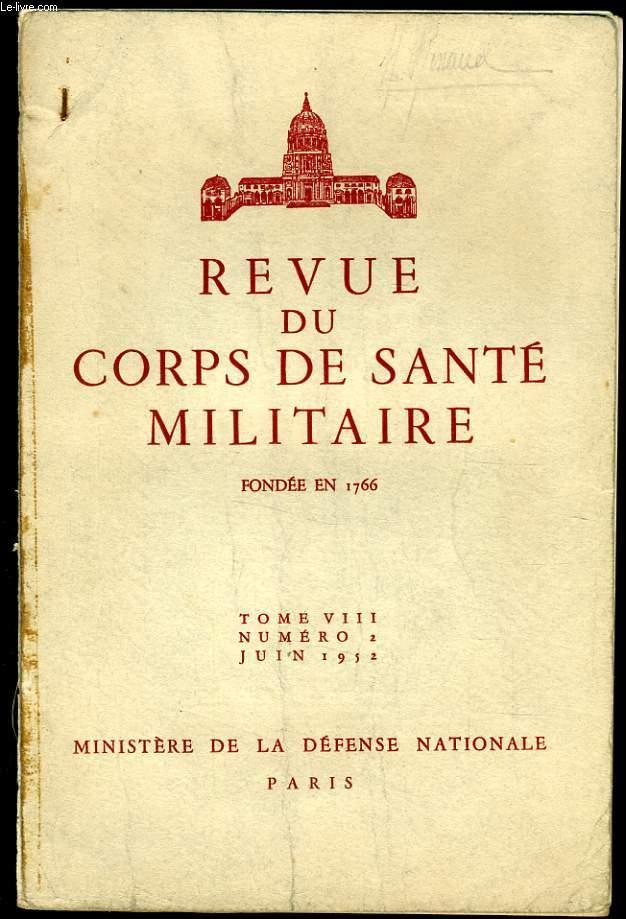REVUE DU CORPS DE SANTE MILITAIRE Tome VIII n°2