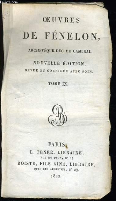 OEUVRES DE FENELON archevêque Duc de Cambrai Tome VI : de l'éducation des filles.