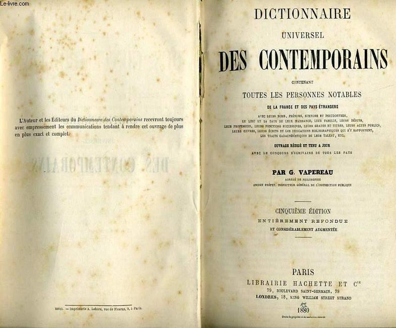 DICTIONNAIRE UNIVERSEL DES CONTEMPORAINS contenant toutes les personnes notables