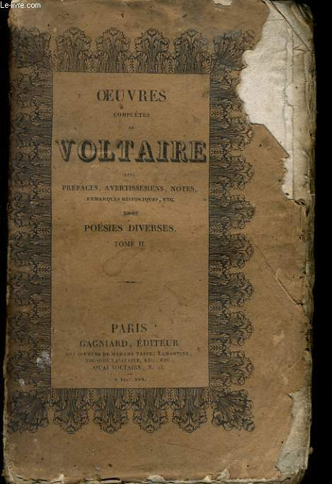 OEUVRES COMPLETES DE VOLTAIRE - POESIES DIVERSES TOME II