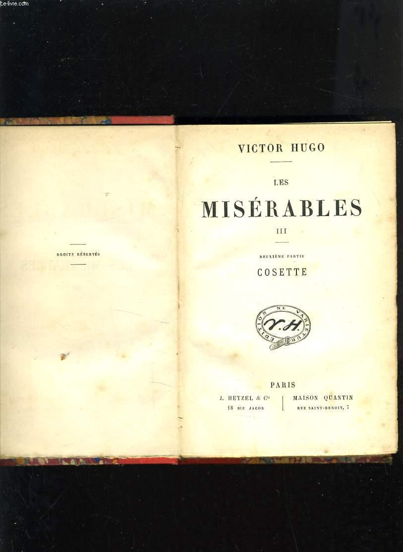 LES MISERABLES III - DEUXIEME PARTIE : COSETTE