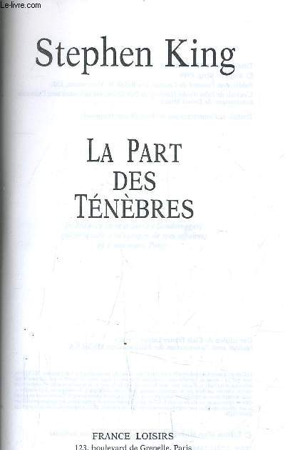 LA PART DES TENEBRES.