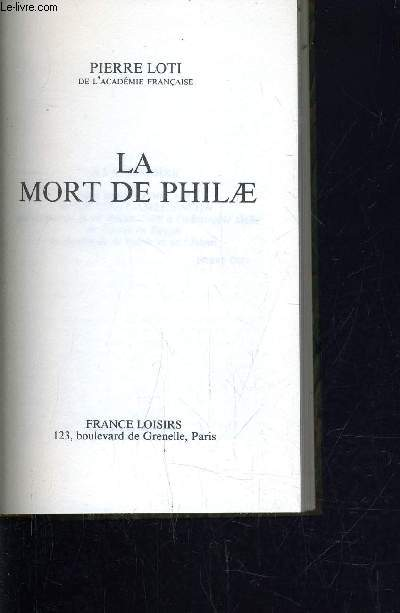 LA MORT DE PHILAE.