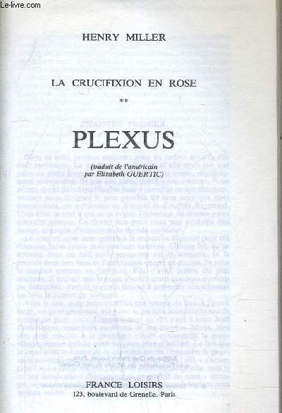 LA CRUCIFIXION EN ROSE - TOME 2 : PLEXUS.