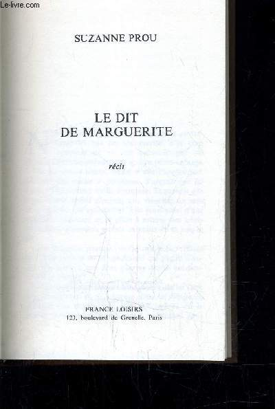 LE DIT DE MARGUERITE.