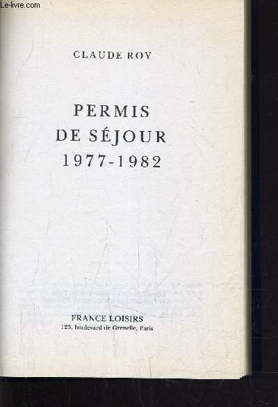 PERMIS DE SEJOUR 1977-1982.