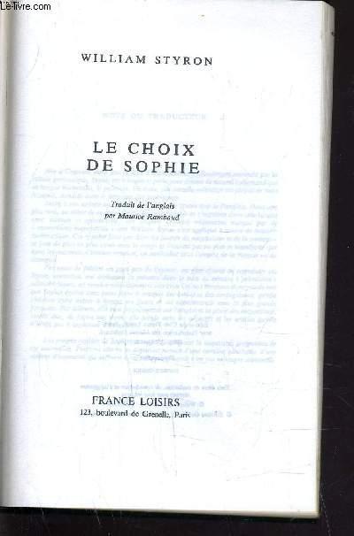 LE CHOIX DE SOPHIE.