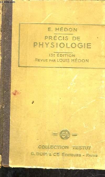 PRECIS DE PSYSIOLOGIE - COLLECTION TESTUT - NOUVELLE BIBLIOTEQUE DE L'ETUDIANT EN MEDECINE.