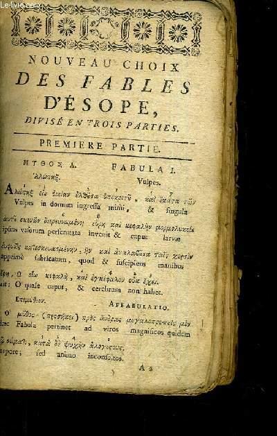 NOUVEAU CHOIX DES FABLES D'ESOPE DIVISE EN TROIS PARTIES.
