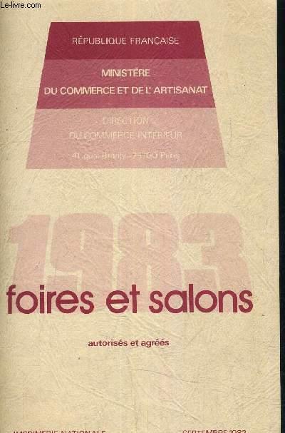 1983 FOIRES ET SALONS AUTTORISES ET AGREES -SEMPTEMBRE 1982