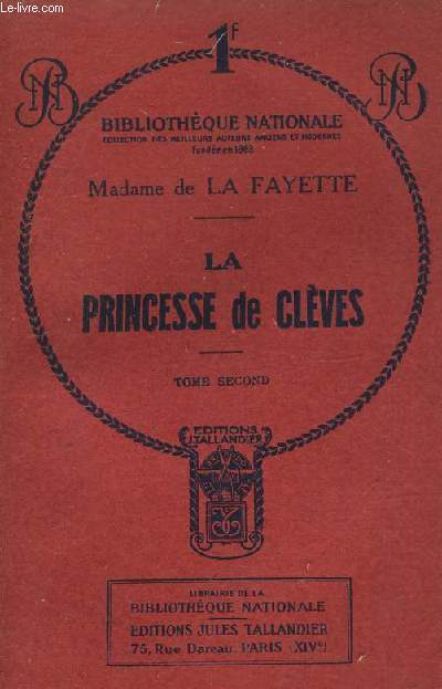 LA PRINCESSE DE CLEVES TOME SECOND.