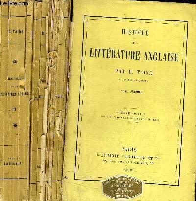 HISTOIRE DE LA LITTERATURE ANGLAISE - 3 TOMES - TOME 1 + TOME 2 + TOME 3 /10E EDITION.