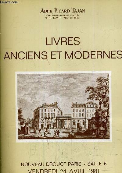CATALOGUE DE VENTES AUX ENCHERES - LIVRES ANCIENS ET MODERNES - NOUVEAU DROUOT SALLE 6 VENDREDI 24 AVRIL 1981.