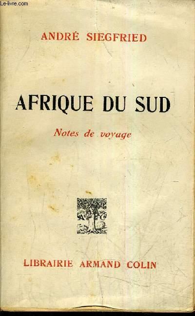 AFRIQUE DU SUD - NOTE DE VOYAGE.