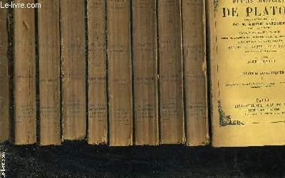 OEUVRES COMPLETES DE PLATON PUBMIEES SOUS LA DIRECTION DE M.EMILE SAISSET - TRADUCTIONS DACIER ET GROU REVISEES ET COMPLETEES PAR UNE NOUVELLE VERSION DE PLUSIEURS DIALOGUES AVEC NOTES ET ARGUMENTS PAR MM.E. CHAUVET ET A.SAISSET - EN 10 TOMES.
