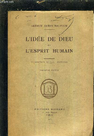 L'IDEE DE DIEU ET L'ESPRIT HUMAIN / 3E EDITION.