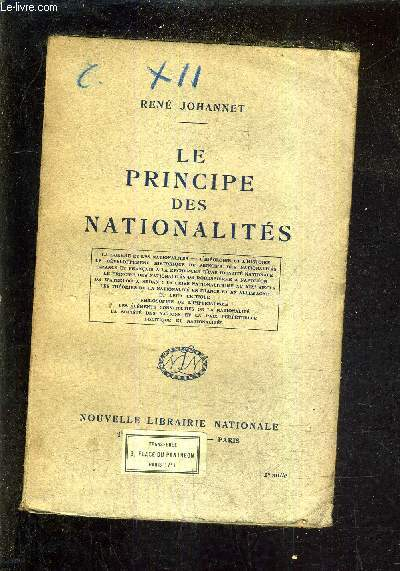 LE PRINCIPE DES NATIONALITES.