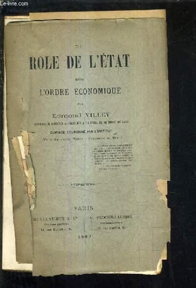 DU ROLE DE L'ETAT DANS L'ORDRE ECONOMIQUE.