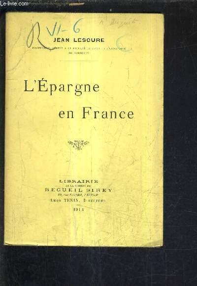 L'EPARGNE EN FRANCE.