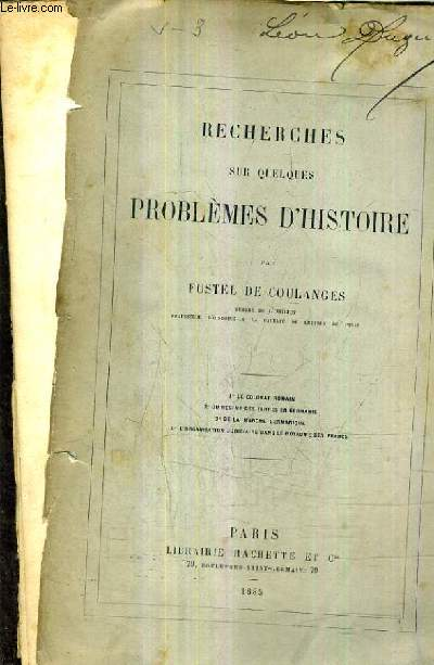 RECHERCHES SUR QUELQUES PROBLEMES D'HISTOIRE.