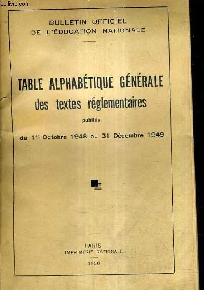 Table alphabetique generale des textes reglementaires for Table 31 decembre