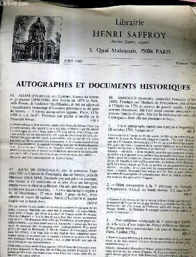 LIBRARIE HENRI SAFFROY JUIN 1980 NUMERO 108 - AUTOGRAPHES ET DOCUMENTS HISTORIQUES.