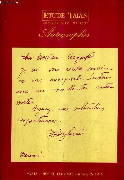 AUTOGRAPHES VENTE AUX ENCHERES PUBLIQUES MERCREDI 8 MARS 1995 A 14H15 HOTEL DROUOT SALLE 4.