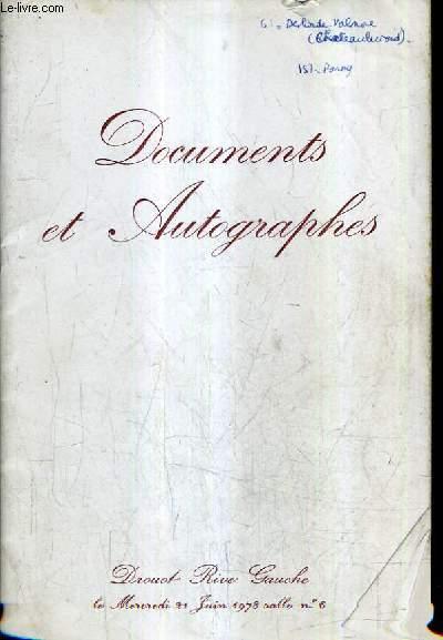 AUTOGRAPHES ET DOCUMENTS HISTORIQUES - MANUSCRITS LITTERAIRES DE LA COLLECTION SACHA GUITRY - DONT LA VENTE AURA LIEU DROUOT RIVE GAUCHE SALLE 6 MERCREDI 21 JUIN 1978.