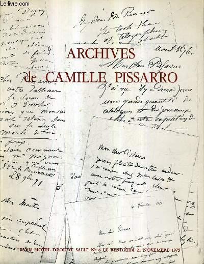 CATALOGUE DE VENTES AUX ENCHERES - ARCHIVES DE CAMILLE PISSARRO - HOTEL DROUOT SALLE 6 VENDREDI 21 NOVEMBRE 1975.