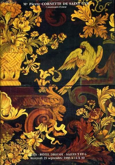 CATALOGUE DE VENTES AUX ENCHERES - TABLEAUX DU XIXE SIECLE TABLEAUX ANCIENS MEUBLES ET OBJETS D'ART DES XVIIE XVIIIE ET XIXE SIECLES TAPIS TAPISSERIES - PARIS HOTEL DROUOT SALLES 5 ET 6 MERCREDI 29 SEPTEMBRE 1993.