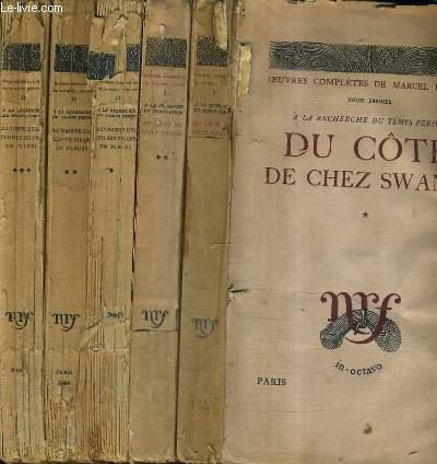 A LA RECHERCHE DU TEMPS PERDU - EN 5 VOLUMES - TOME PREMIER : DU COTE DE CHEZ SWANN TOME 1 + TOME 2 - TOME 2 : A L'OMBRE DES JEUNES FILLES EN FLEURS : TOMES 1 + 2 + 3 .
