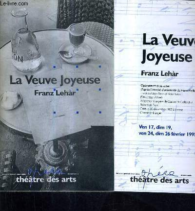 PLAQUETTE : LA VEUVE JOYEUSE - OPERA DE NORMANDIE - THEATRE DES ARTS.